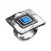 Кольцо квадратное с аметистом из серебра,артикул R112AM.